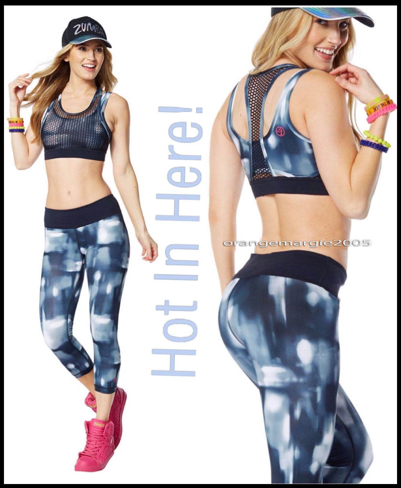 ZUMBA 2Pc.SET   Hot in Here Capri leggings (Zumba Logo in Pink Accent) + BRA TOP