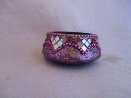 TRINKETJEWELRY CONTAINER PURPLE MIRRORED GLITTERY CERAMIC FREE SHIPPING