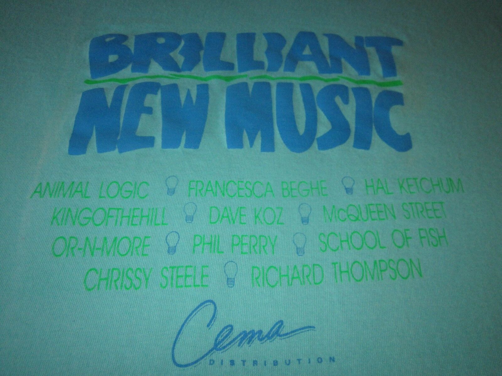BRILLIANT NEW MUSIC TEE SHIRT SCHOOL OF FISH ANIMAL LOGIC RICHARD THOMPSON 80S