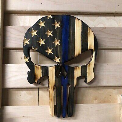 Wooden Carved Burned American Flag Punisher Skull Thin