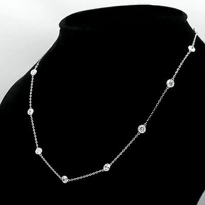 """By Yard Station Necklace 4.00tcw Created Diamond 14k White Gold Bezel Chain 24/"""""""