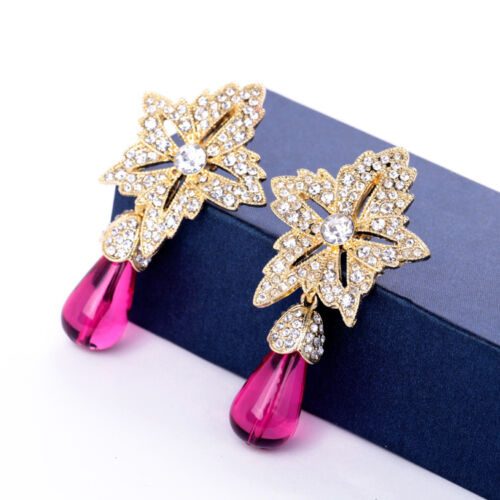 Rings` Ears Clips Big Star Drop Pink Bright Retro Vintage Baroque J2