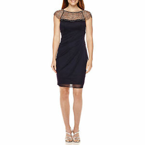 c83e9b65d NEW DJ-Jaz Women s Cocktail Wedding Beaded Dress Navy Size 6 NWT