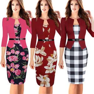 Plus-Women-Elegant-Belted-Work-Business-Office-Dress-Formal-Sheath-Pencil-Dress