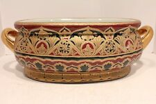 Beautiful Tri Color Red Gold Green Porcelain Footbath Basin