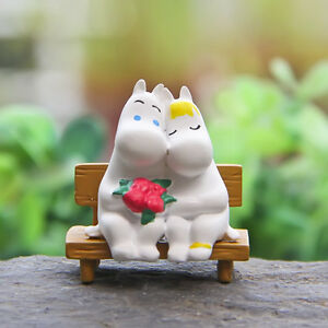 Cute Hippo Moomin Snorkmaiden Lovers Bench Figure Model Garden Ornament Toy Gift