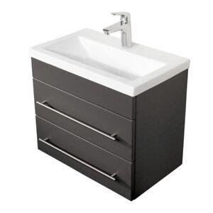 badezimmerm bel 60cm keramik waschtisch mit unterschrank anthrazit g ste bad wc ebay. Black Bedroom Furniture Sets. Home Design Ideas
