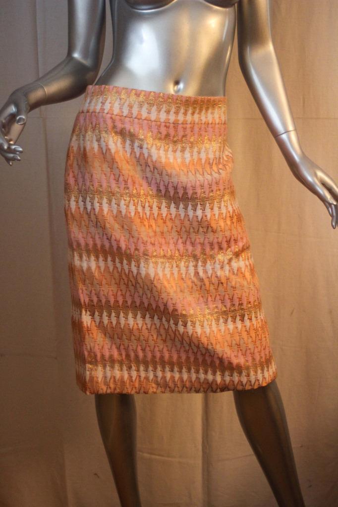 Womans J CREW Collection orange Pink White Metallic Cotton Skirt Size 14 NWT