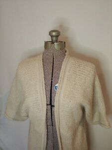 Forever-21-XXI-Mid-Length-Beige-Gold-Sparkle-Short-Sleeve-Sweater-Cardigan-Med-M