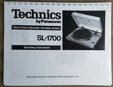 Technics SL-1700 Turntable Owners Manual