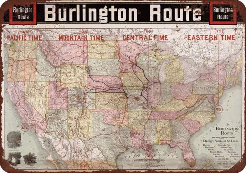 """1892 Burlington Route Railroad Map Vintage Rustic Retro Metal Sign 8/"""" x 12/"""""""