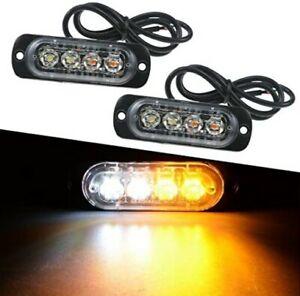 YnGia 4PCS luci stroboscopiche 4 LED di avvertimento di pericolo di emergenza lampeggiante impermeabile ambra guasto barra luminosa del faro 12V 24V universale per auto veicolo camion