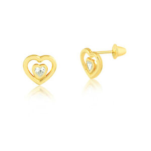 18k-Solid-Yellow-Gold-Double-Heart-Zircon-Push-Backs-Stud-Earrings-for-Children