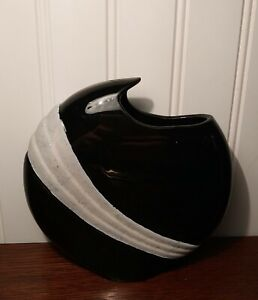 Vintage Art deco Black & White Pottery Vase