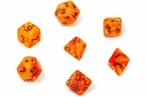 7 CHX27433 Set Dadi Vortex Chessex Dice Orange//black Chessex 601982024734