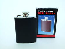 New 3 oz. Stainless Steel Liqour Hip Flask w/ Leather Cover  (SHIPPED FROM USA!)