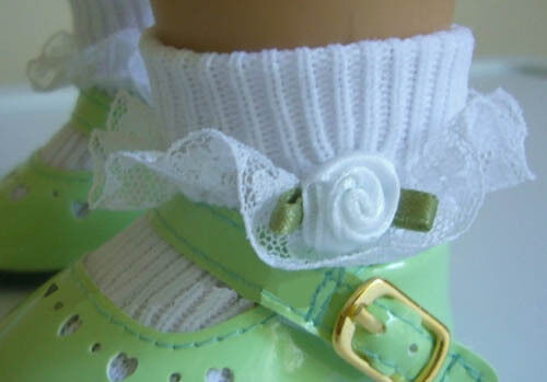 White Lace Trim Socks w// White Rosebuds for American Girl Doll Clothes