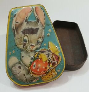 Vintage HORNER English Toffee Tin Litho Metal Candy Box EASTER BUNNY/Rabbit CUTE