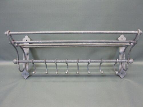 Garderobe  Hutablage  aus Metall  mit beweglichen Haken 53 cm x 22 cm Loft grau