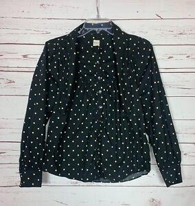 LA VIE Rebecca Taylor Women's XS Extra Small Black Long Sleeve Cotton Top Blouse