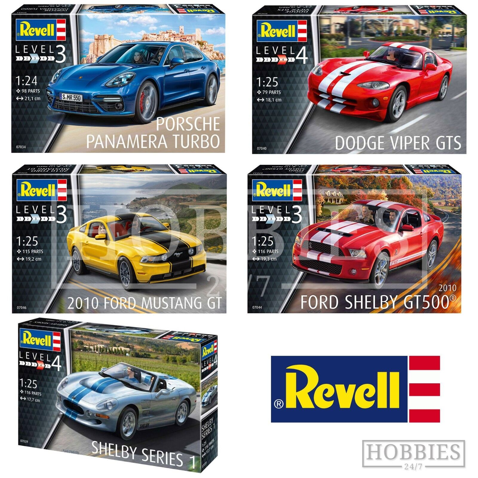 Revell Sport Car Model Kits 1 24 1 25 Porsche Ford Mustang Dodge Viper Shelby