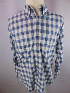 LL-Bean-Blue-White-Plaid-Long-Sleeve-Button-Front-Casual-Dress-Shirt-Men-039-s-L