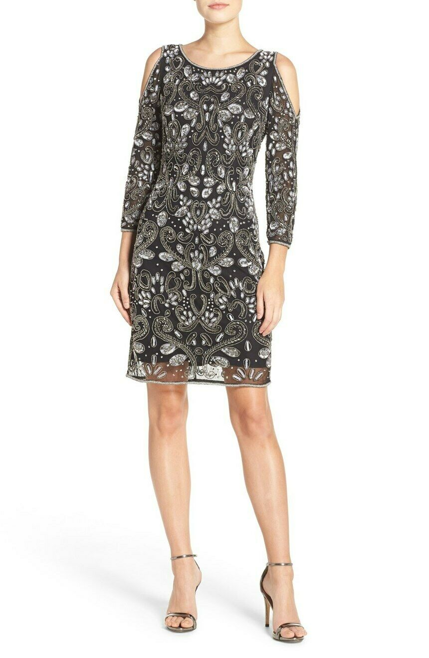 PISARRO NIGHTS Embellished Mesh Sheath Dress (size 12)