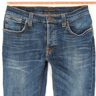Grim Tim Indigo Jeeves Nudie Herren Slim Fit Jeans Hose W32 L32