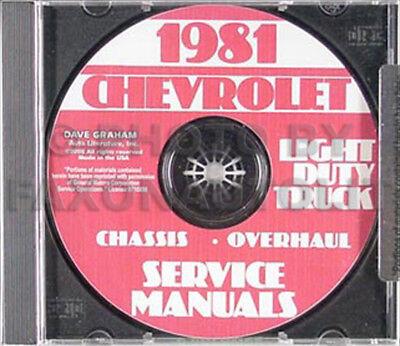 Blazer Van CHEVROLET 1981 Pickup Suburban /& Truck Shop Manual CD