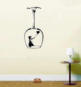 Image Is Loading Banksy Girl Balloon Wine Glass Wall Art Vinyl