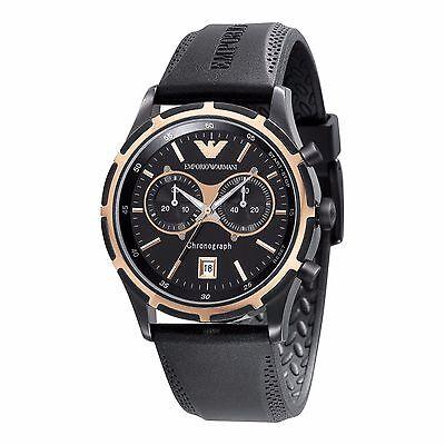 Emporio Armani AR0584 Men's Black Chronograph Quartz Watch With Silicon Band