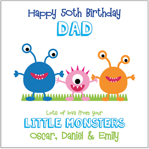 Image Is Loading Personalised BIRTHDAY Card Dad Daddy Little Monsters Any