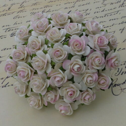 PACK 10 BEAUTIFUL 10MM OPEN ROSES FOR CARDS AND CRAFTS 6 COLOURS TO CHOOSE