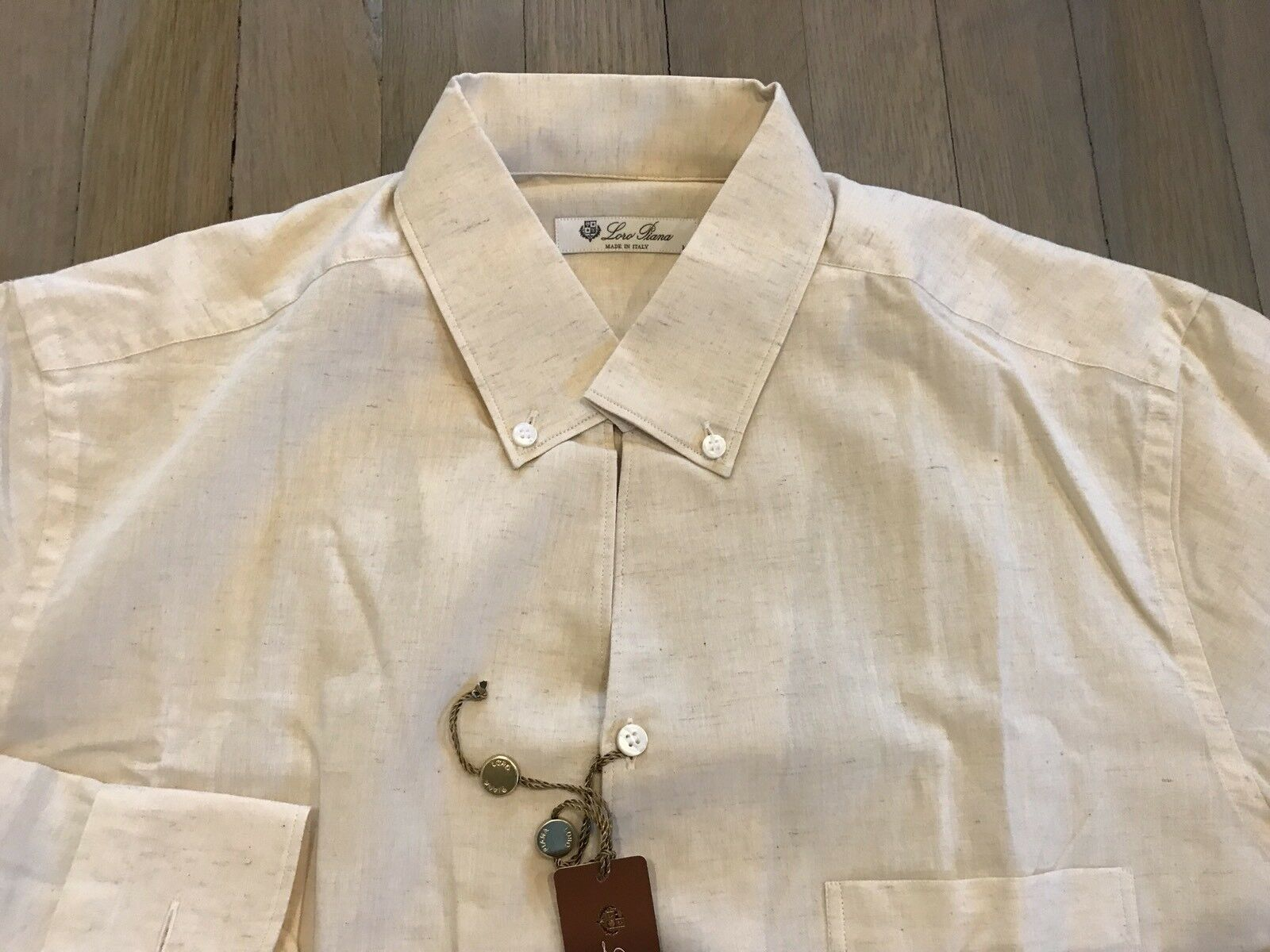 495  Lgold Piana Beige Cotton and Linen Shirt Size XXL Made in