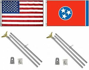Details about 3x5 USA American & State of Tennessee Flag & 2 Aluminum Pole  Kit Sets 3'x5'