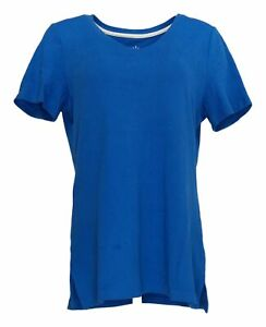 Isaac Mizrahi Live! Women's Top Sz M V-Neck Tunic w/ Side Slits Blue A272505