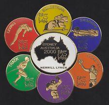 2000 Merrill Lynch Sydney Olympic 7 Pin Set Equestrian Swimming Diving Boxing