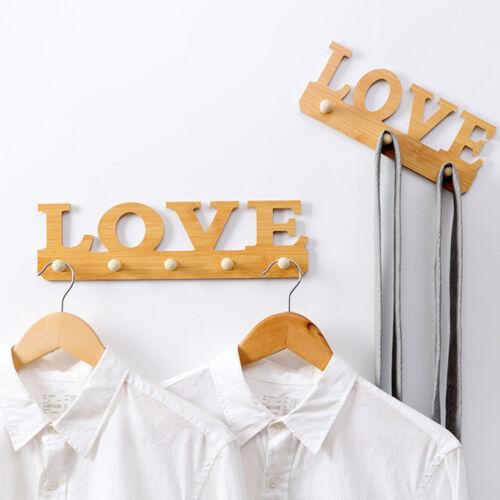 Wooden Self-adhesive Wall Mounted Hooks Hanger Key Holder Rack Organizer 1* #AM5