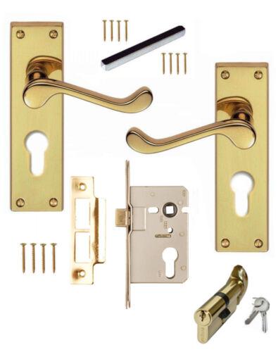 Cylinder /& Turn 76mm Euro Sashlock Brass Scroll Euro Lever Lock Door Handles