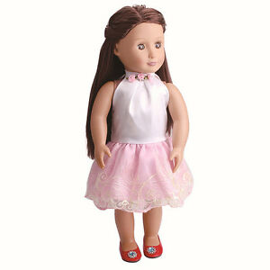 Fashion-Handmade-Pink-Lace-Doll-Dress-For-18-Inch-Cloth-Toy-Party-Girl-Doll-P1D4