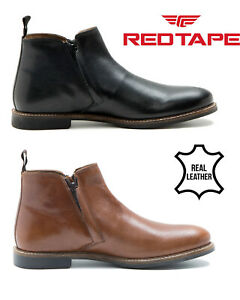 Mens-Red-Tape-Leather-Boots-Zip-Up-Chelsea-Casual-Slip-On-Formal-Shoes-Tabley