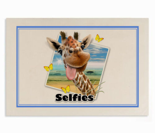 """Howard Robinson Drôle Girafe /""""Selfie/"""" 100/% Coton Naturel Thé Serviette 67x47cm"""