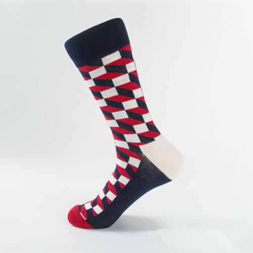Mens Combed Cotton Happy Socks Colorful Grid Diamond Casual Dress Socks 9 Colors
