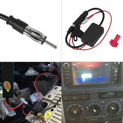 12V ANT-208 Car Automobile FM Antenna Radio Signal Booster Amplifier Amp UL