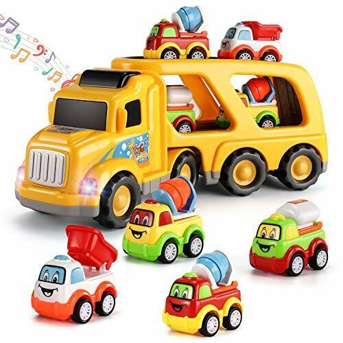 TEMI 5-in-1 Friction Power Toy Vehicle in Carrier Truck Steering Construction