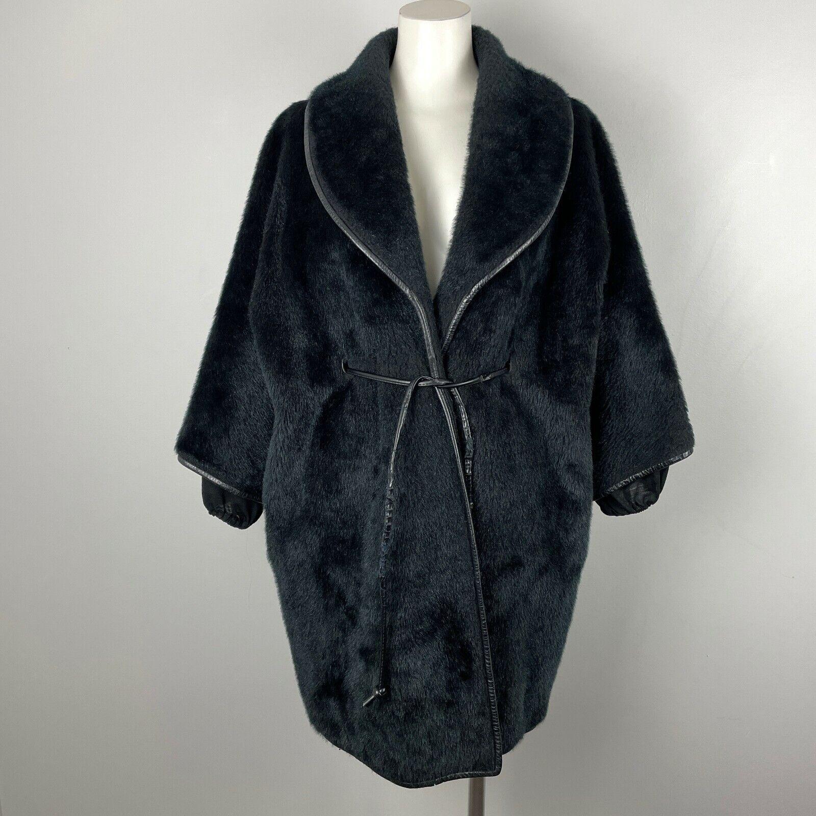 Vintage 60s Bonnie Cashin Black Mohair Coat Belte… - image 1