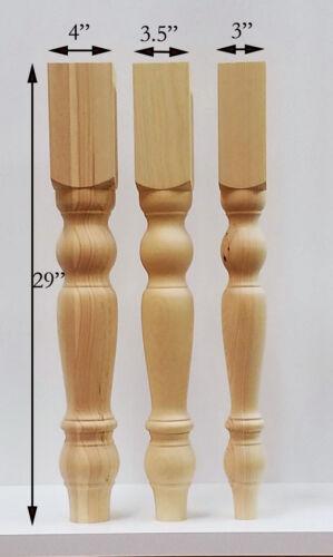 Farmhouse Dining Table Legs Wood Legs set of 4 hand made wood turning legs