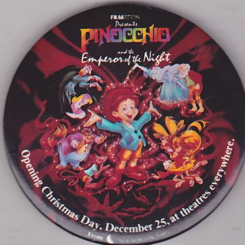 "VINTAGE 3"" PINBACK #36 027 DISNEY PINOCCHIO EMPEROR OF THE NIGHT"
