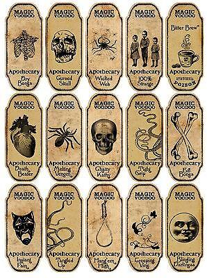 Halloween 15 magic voodoo apothecary bottle labels stickers scrapbooking crafts