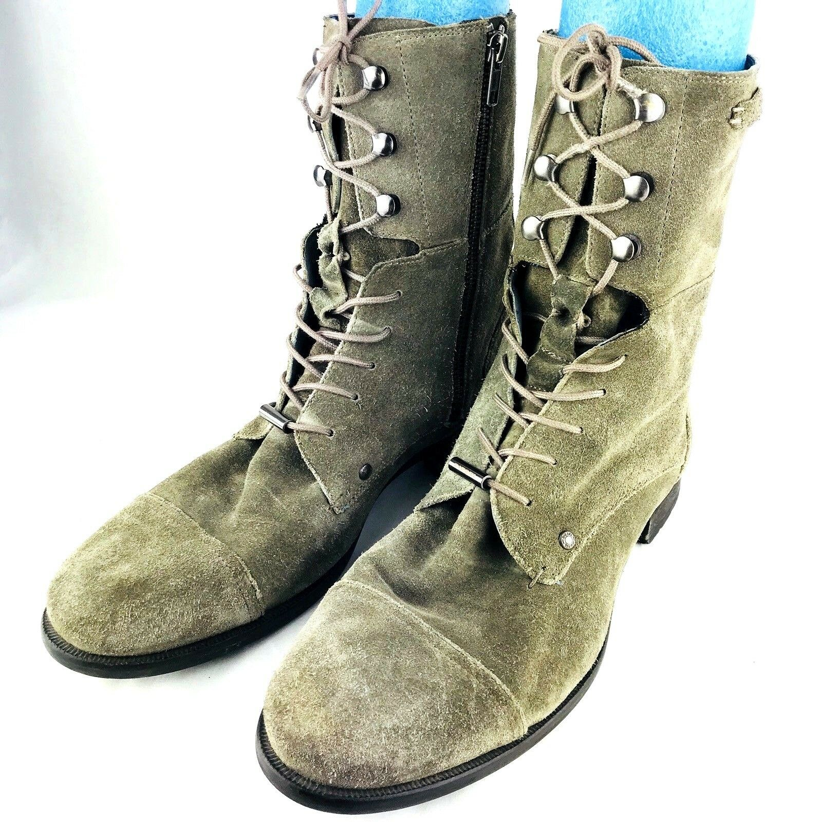 Diesel Uomo's 10.5 Suede Combat Military Hiking Stivali 44 Olive Green Army Tall